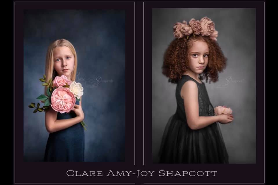Two award winning photographs of young girls holding pink flowers wearing dresses.