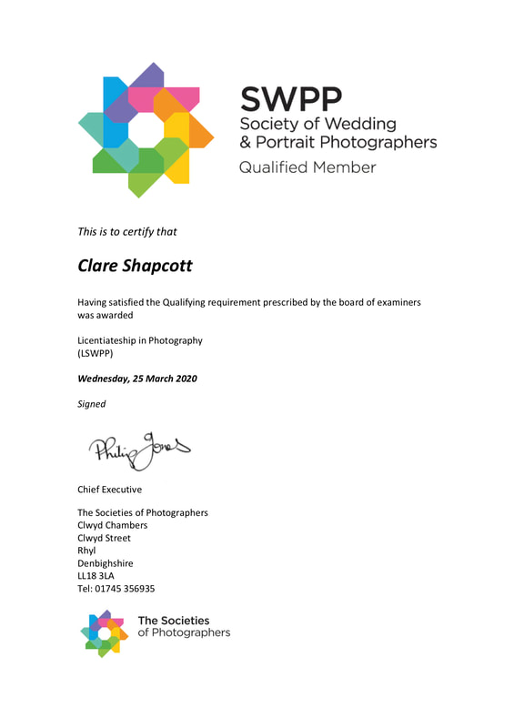 Award given to Clare Shapcott by the SWPP for passing licenciate qualification.