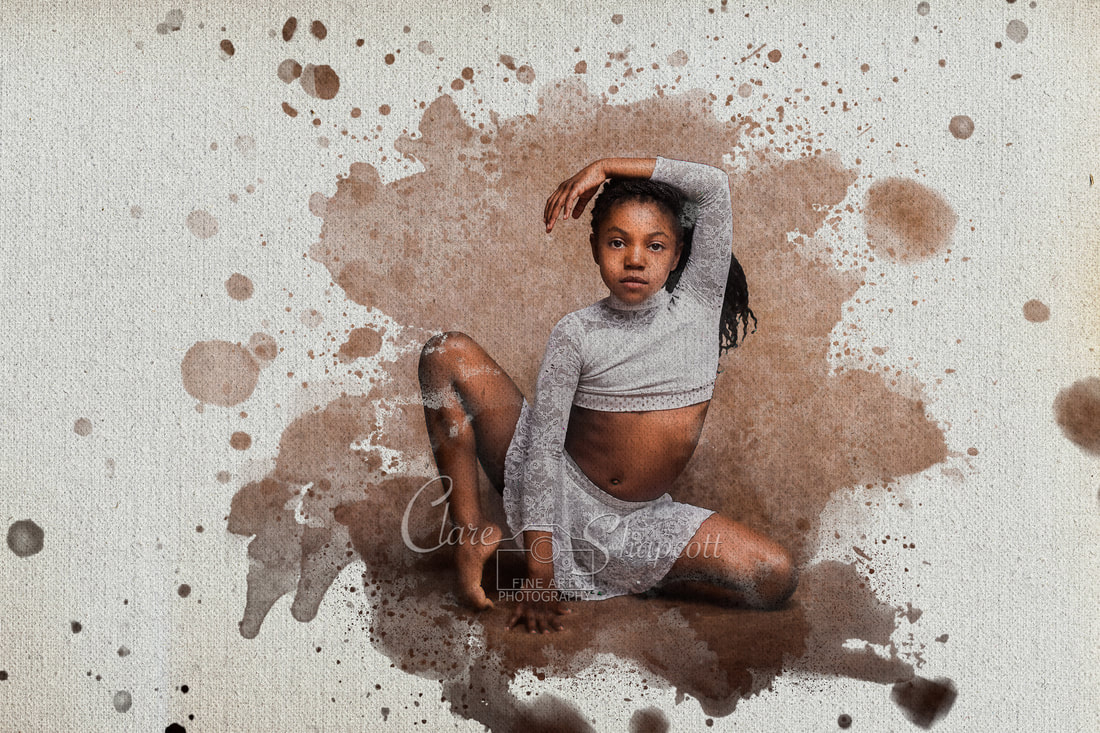 creative portrait of young girl in dancing pose on water colour themed canvas