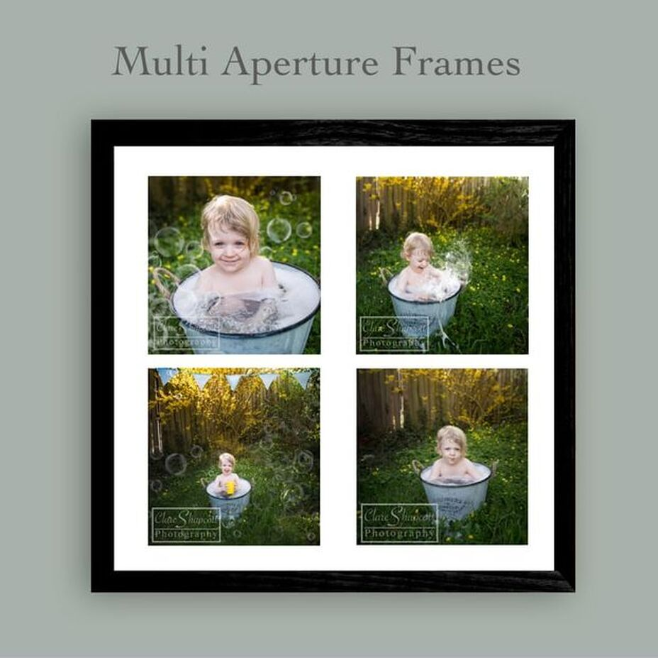 Multi aperture frame with boy in bathtub outside with bubbles