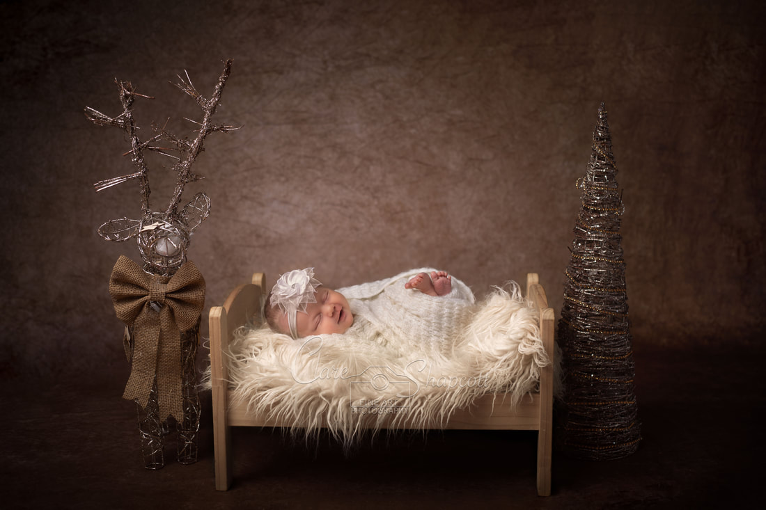 Newborn baby in white wraps lies on bed next to brown wicker reindeer and Christmas tree.