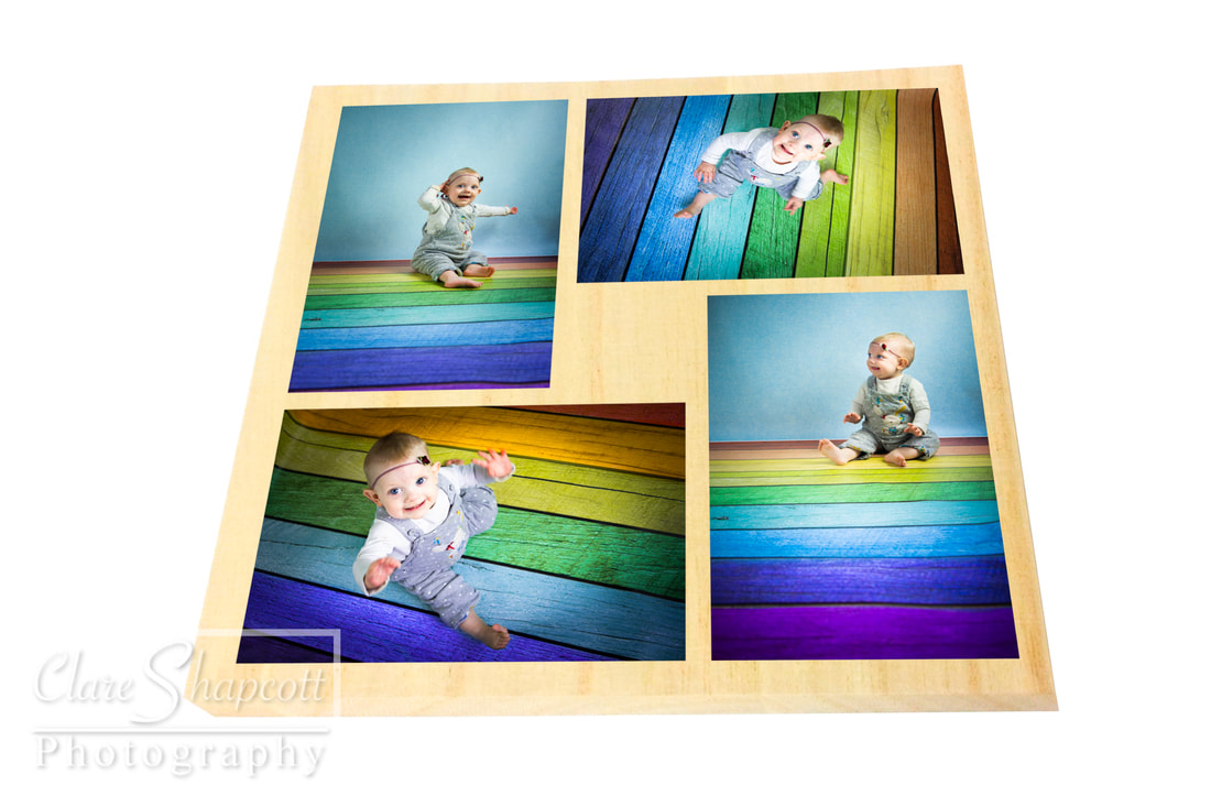 Multi aperture story board with rainbow flooring and child