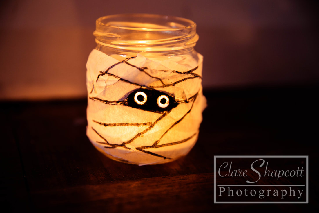 Halloween Photograph Mason Jar Decorations Mummy Kids Children